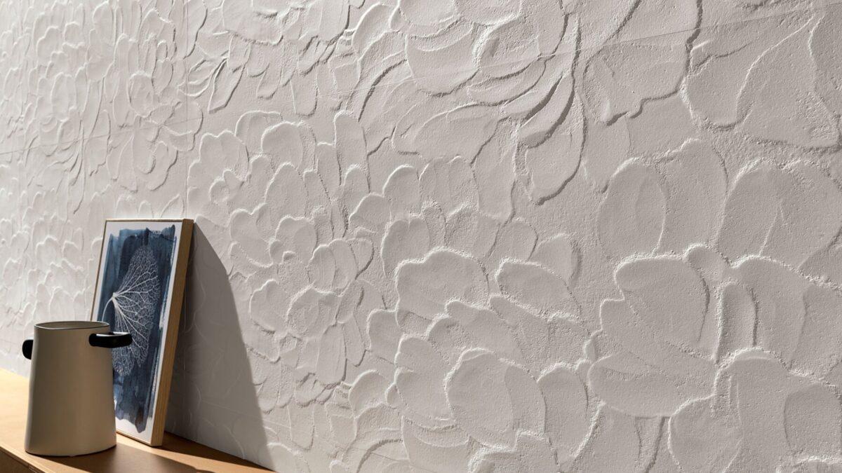 Dettaglio della texture Blossom della nuova collezione di piastrelle a rilievo Lumina Sand Art di FAP ceramiche