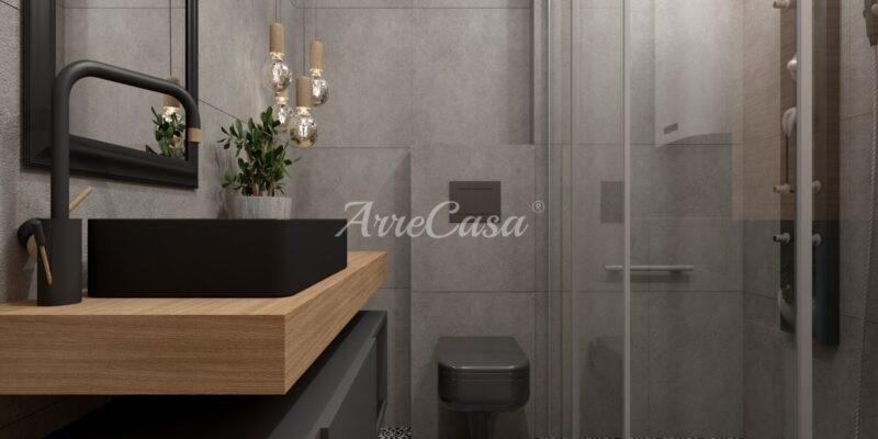 Piastrelle per rivestimento bagno, palette cromatica bianco e nero