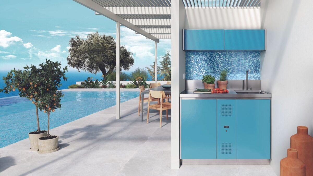 Cucina Cooling station di Abimis a bordo piscina a Mykonos